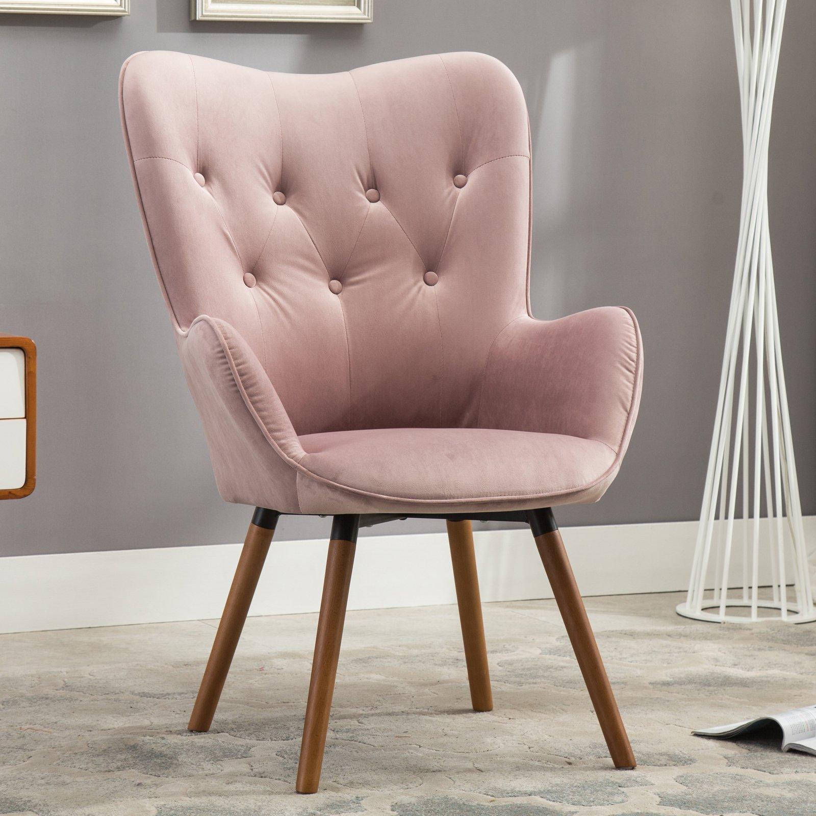 velvet armchair pink chair design inspiration upholstered accent high back blush tufted details