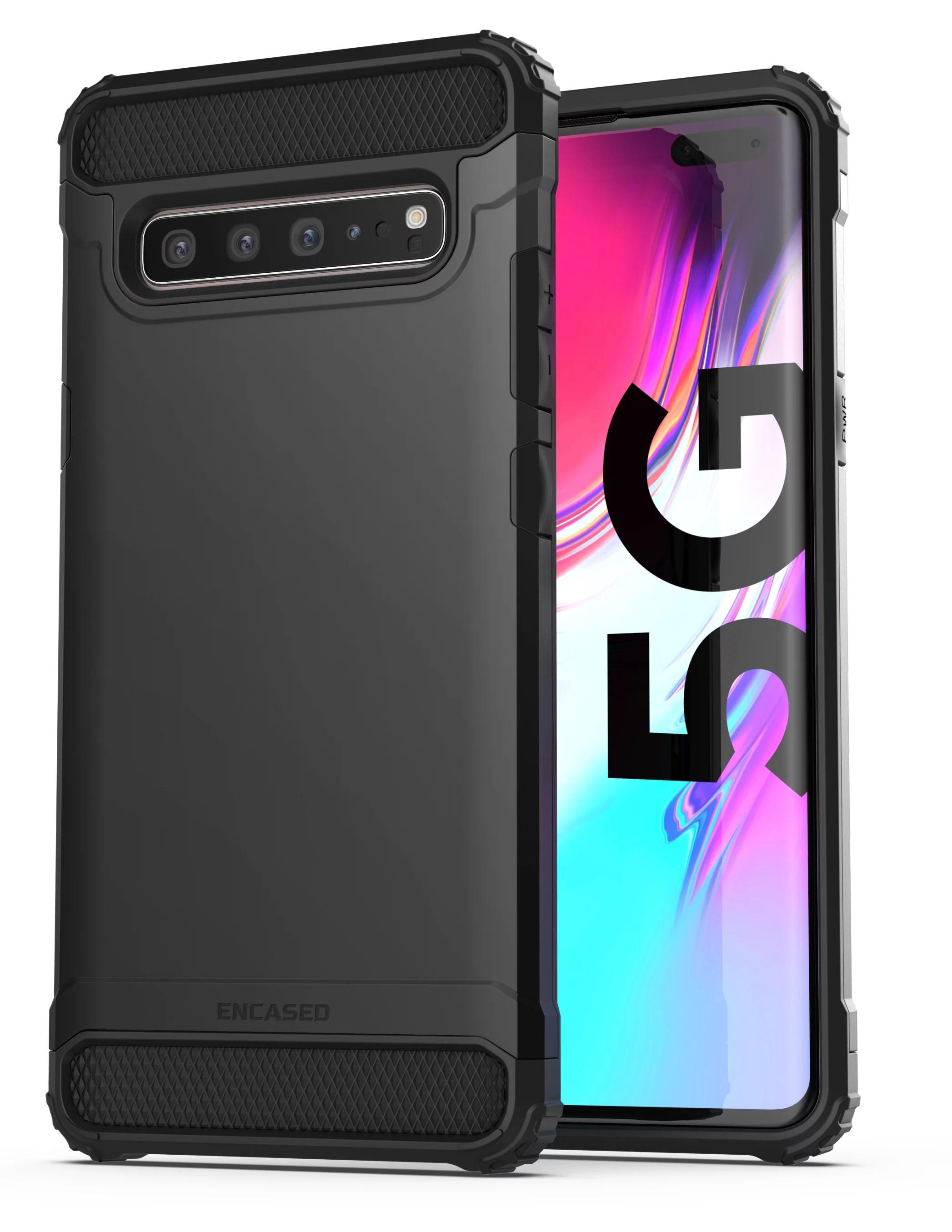 Encased Heavy Duty Galaxy S10 5G Case (Scorpio Armor) Military Grade Rugged Protective Cover for Samsung S10 5G (Black) - Walmart.com - Walmart.com