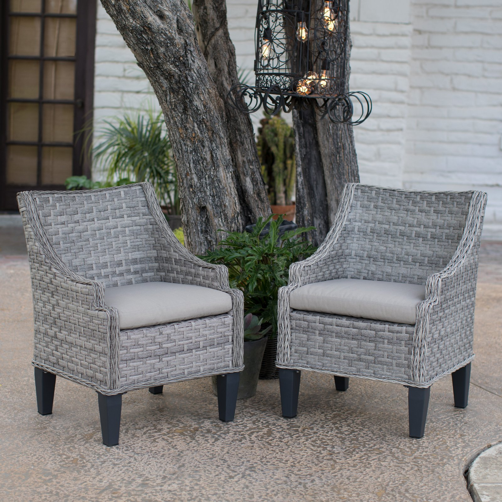 Wicker Outdoor Dining Chairs Belham Living Maven All Weather Wicker Outdoor Dining Chairs Set Of 2