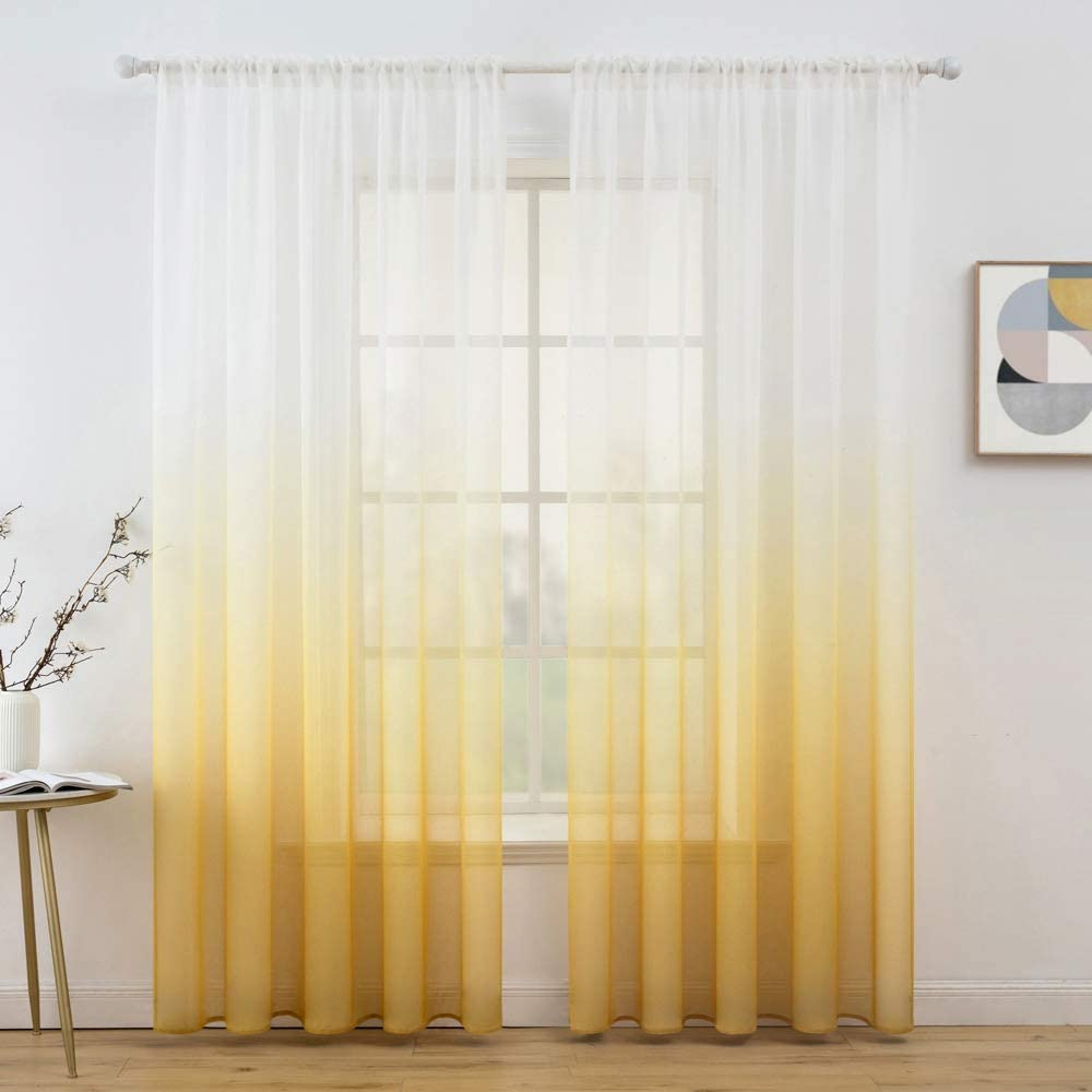 decorx ombre sheer curtains semi transparent window treatments voile drapes rod pocket for bedroom living room home decor linen textured set of 2