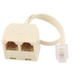rj11 6p4c 2 way outlet 1 to 2 telephone phone jack line splitter adapter beige walmart com [ 1100 x 1100 Pixel ]