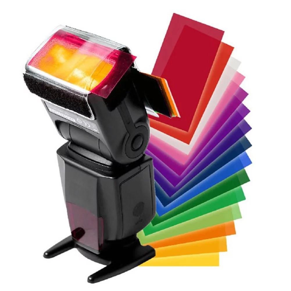 12 pcs universal flash color card diffuser lighting gel up filter for camera speedlite