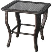 Glass Top Side Wicker Table Outdoor Patio Porch Garden ...