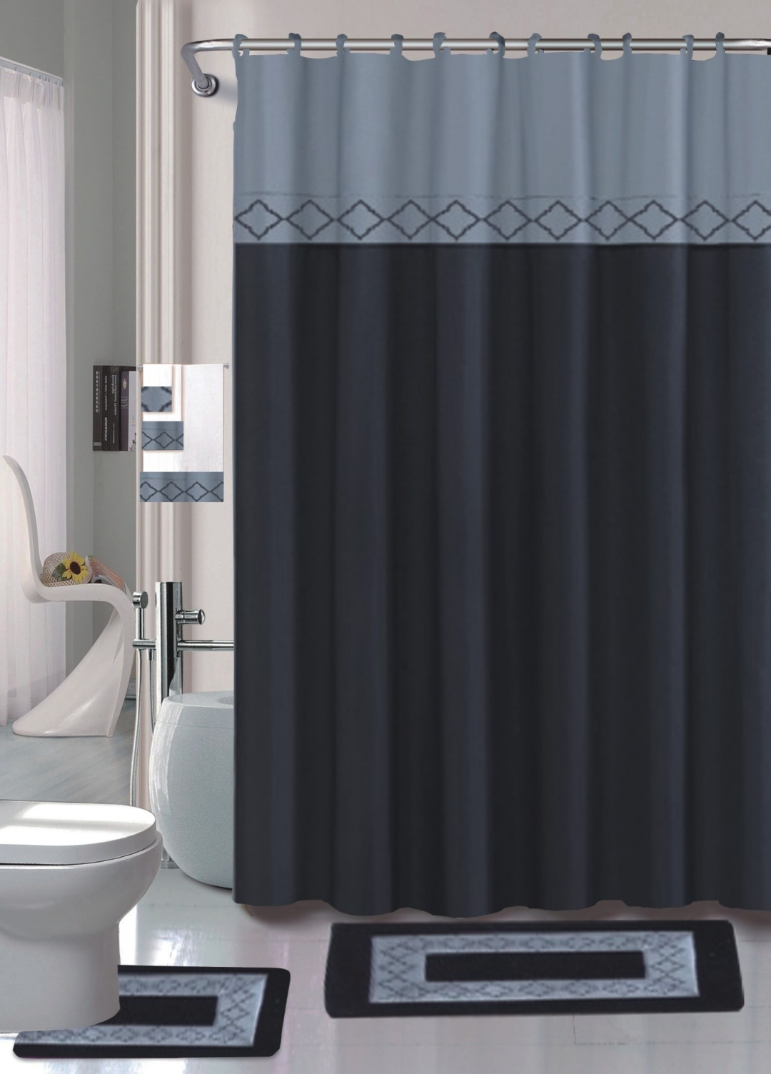 black kadir 15 piece hotel bathroom sets 2 non slip bath mats rugs fabric shower curtain 12 hooks