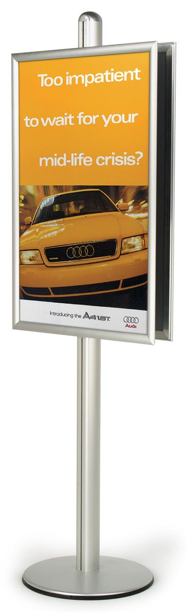 6ft poster frame stand for 2 24 x 36 inch graphics double sided sign holder with height adjustable frames front loading design for easy updating
