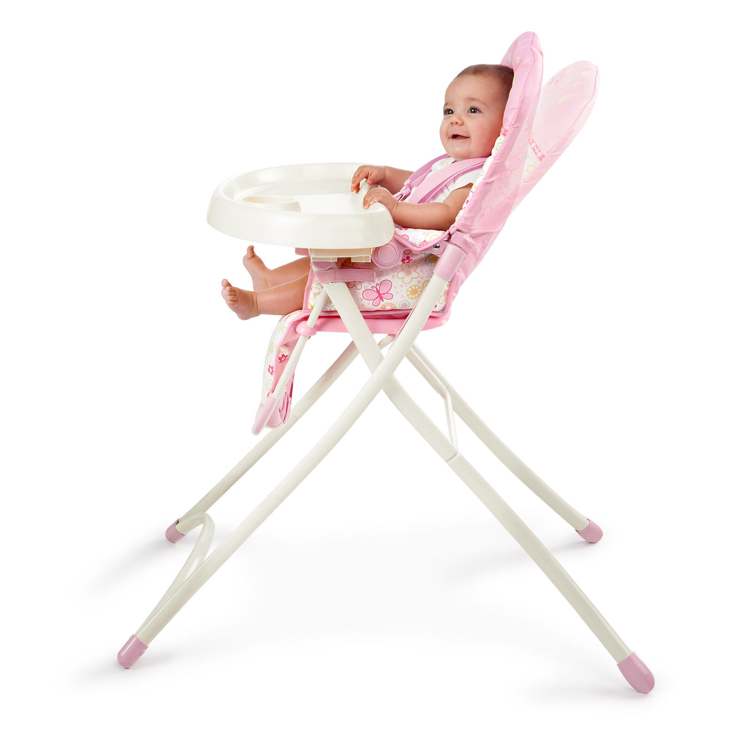 bright starts high chair wood restaurant chairs pretty in pink flutter dot walmart com