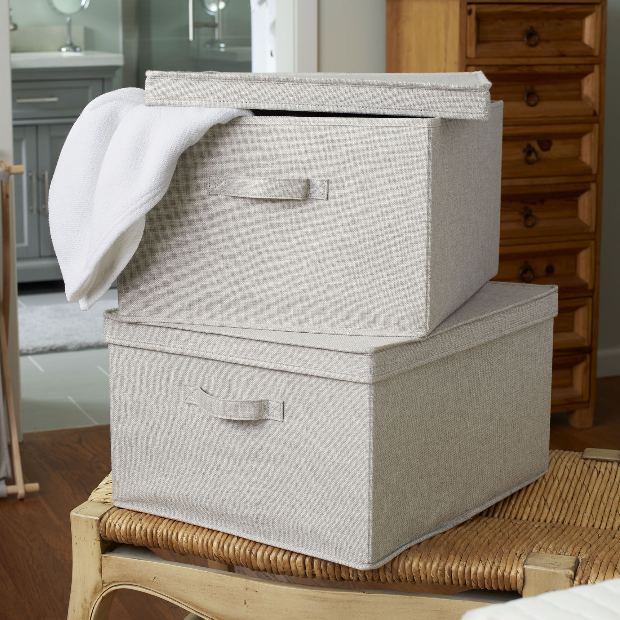household essentials extra large fabric storage bin with lid set of 2 silver linen walmart com