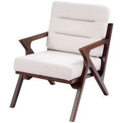 Wooden Lounge Chair Home Depot Adirondack Chairs Gymax Mid Century Accent Fabric Upholstered Arm Beige