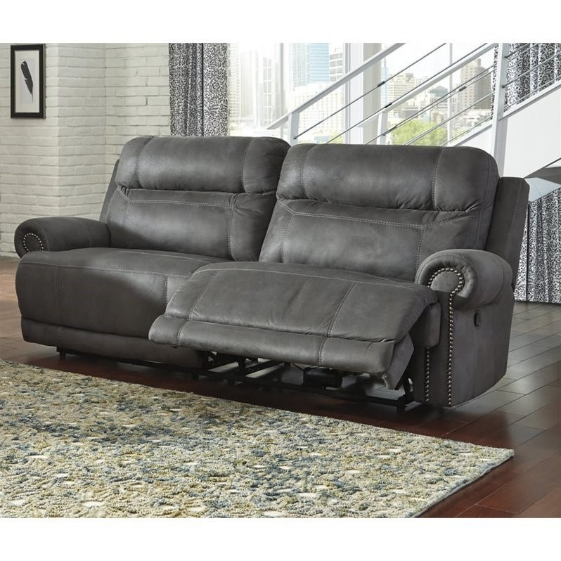 ashley furniture austere faux leather reclining sofa in gray walmart com