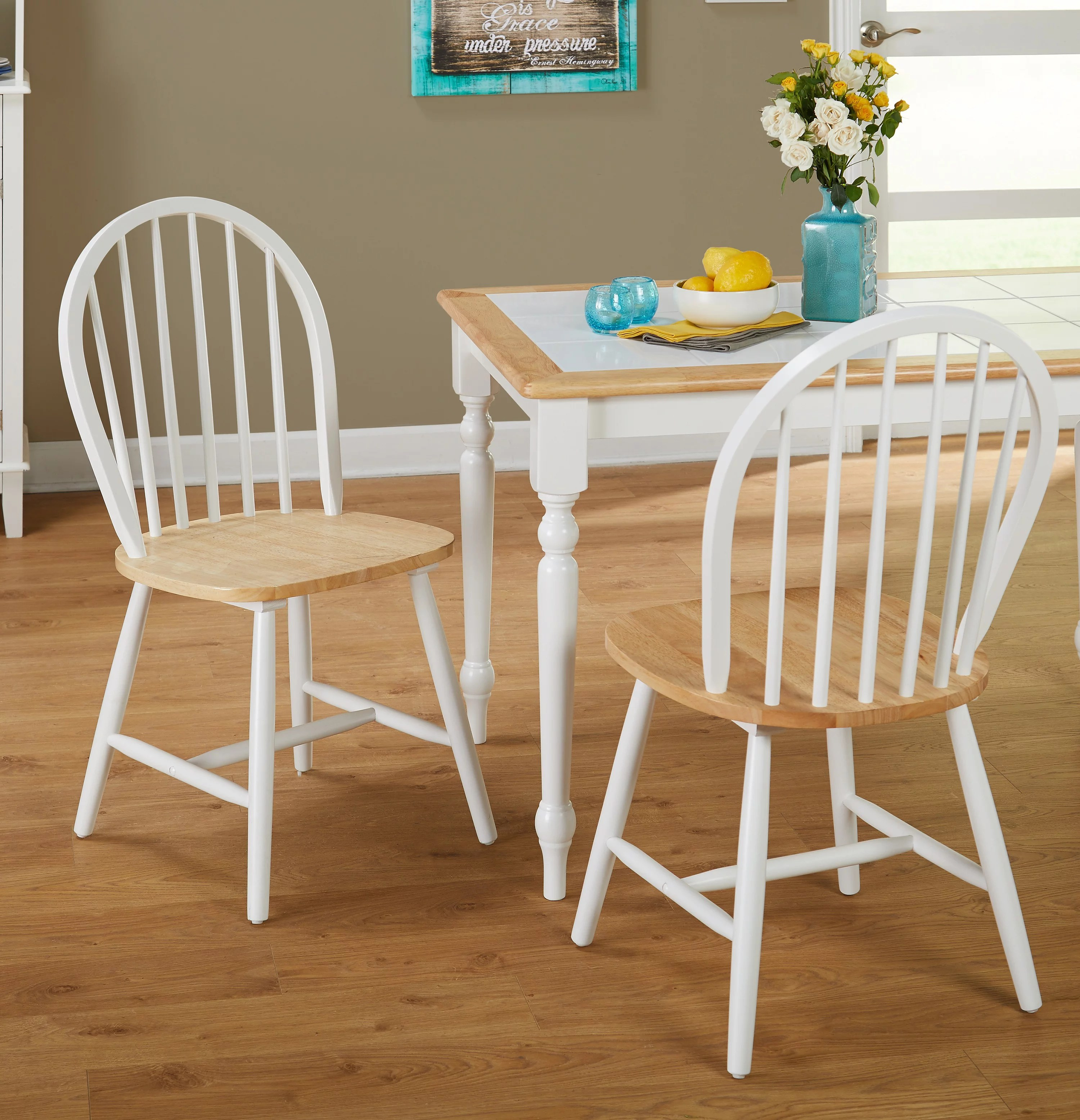 windsor kitchen chairs hammock chair stand india dining white natural set of 2 walmart com