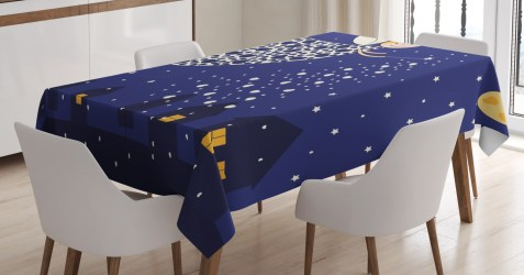 ambesonne rectangular casting hearts inches magic sky dining houses kitchen table cartoon night room cute tablecloth marigold fairy stars