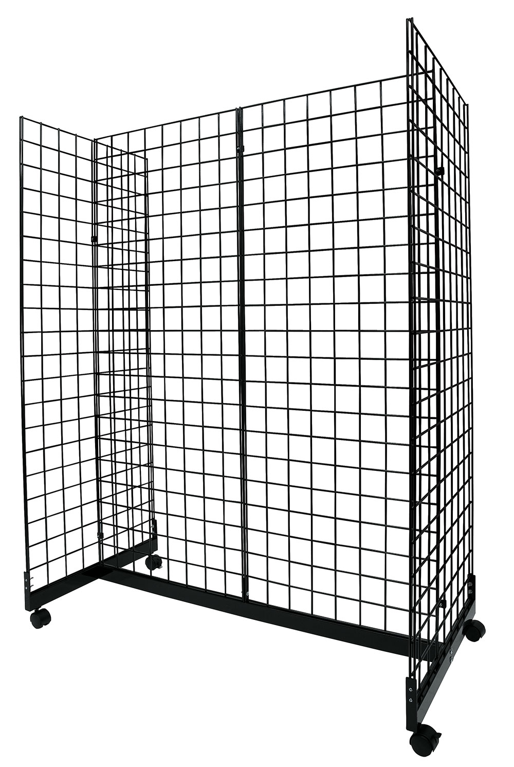 Black Grid Gondola Unit – Includes Base and Casters – Grid Unit 48″L x 66″H x 24″W