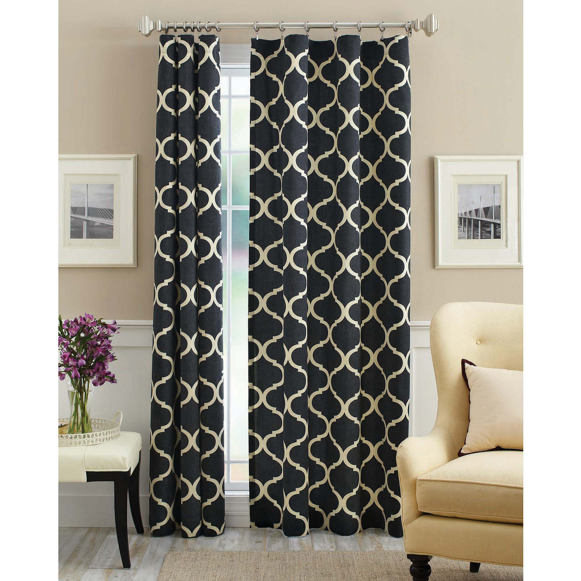 Mainstays Canvas Iron Work Curtain Panel  Walmartcom