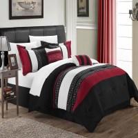 Carlton Black, Burgundy & White 10 Piece Comforter Bed In ...