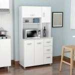 Inval 4 Door Laminate Microwave Kitchen Cabinet Laricina White Walmart Com Walmart Com