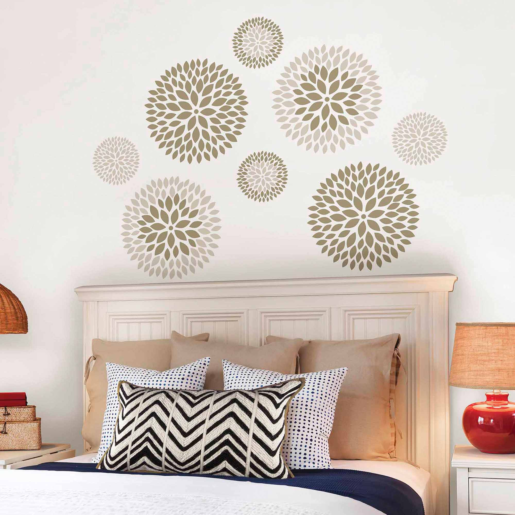 wallpops chrysanthemum wall art decals kit walmart
