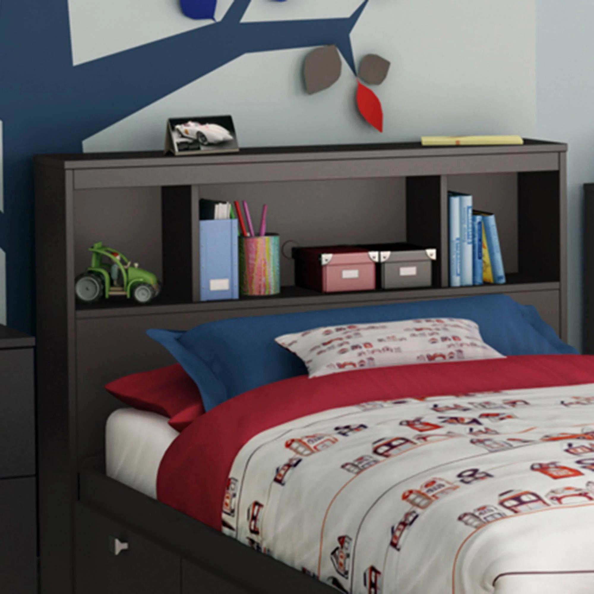 South Shore Spark Bookcase Headboard Twin Black Walmart Com Walmart Com
