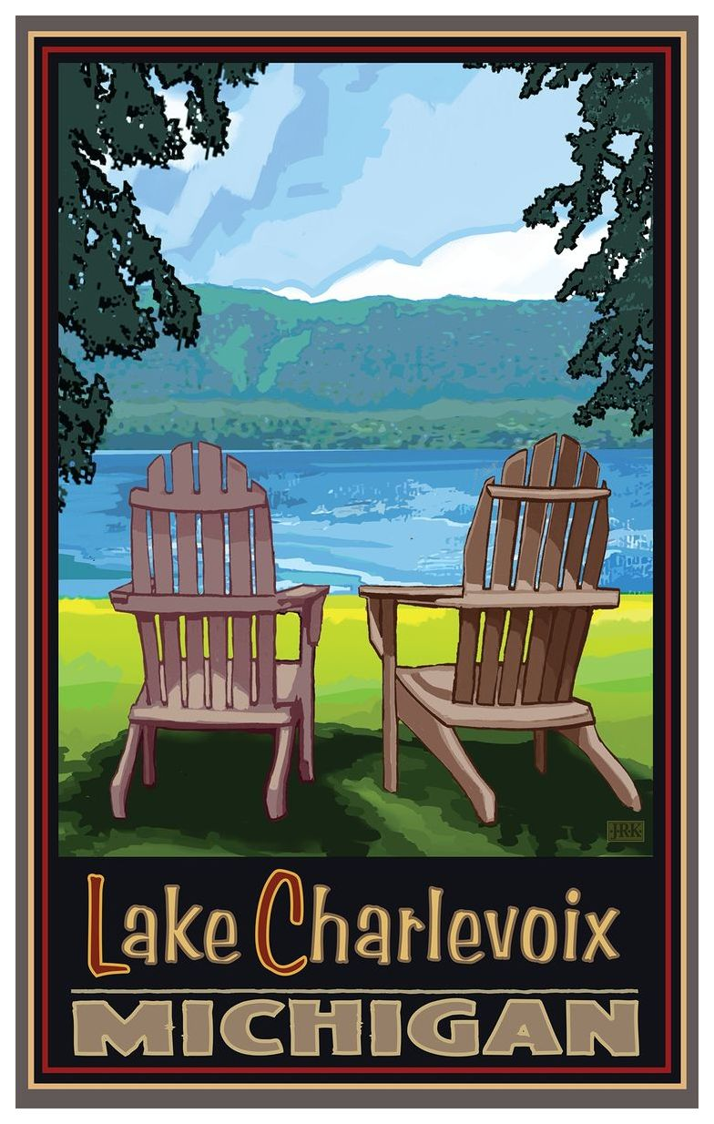 adirondack chairs portland oregon black sequin chair covers lake charlevoix travel art print poster by joanne kollman 12 x 18 walmart com
