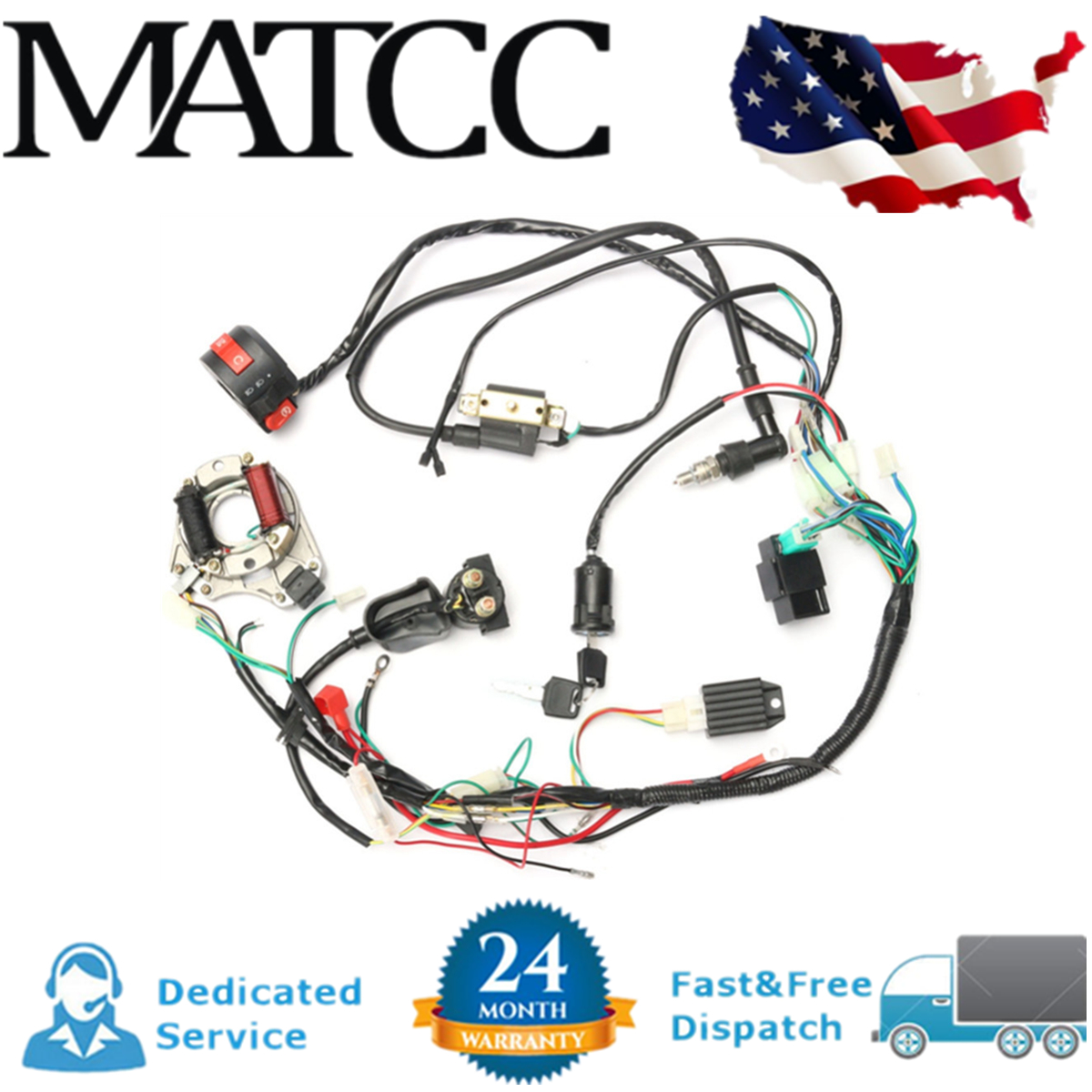 hight resolution of straight wiring 50cc atv wiring diagram paper1 set 50 70 90 110cc cdi wire harness assembly