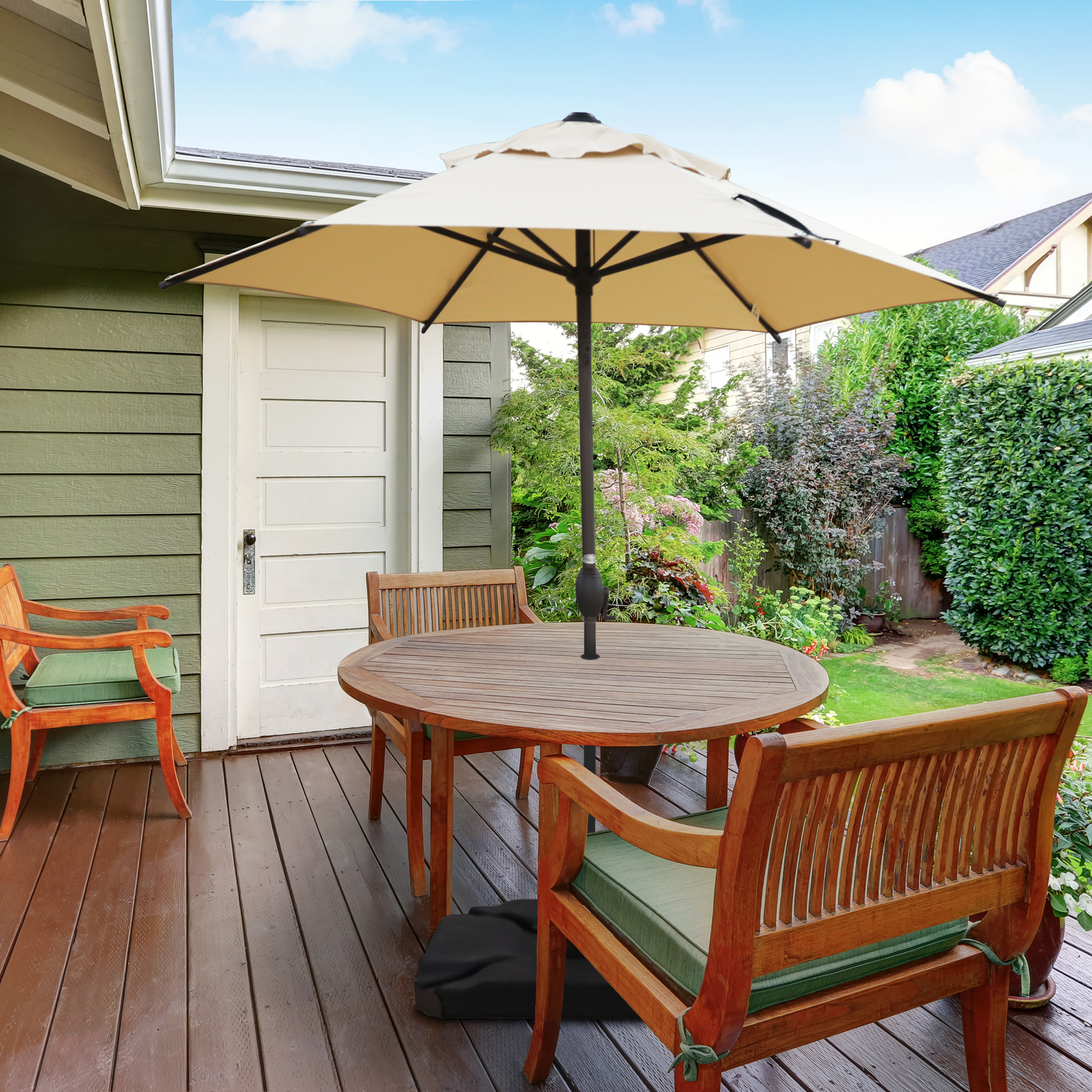 abba patio 7 5 ft round outdoor market patio umbrella with push button tilt and crank lift beige walmart com