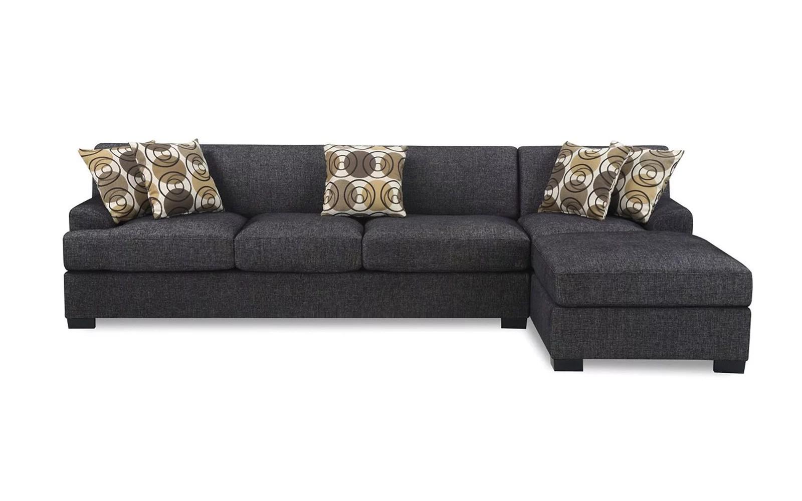 natalia leather and chenille sofa modern chaise black home the honoroak