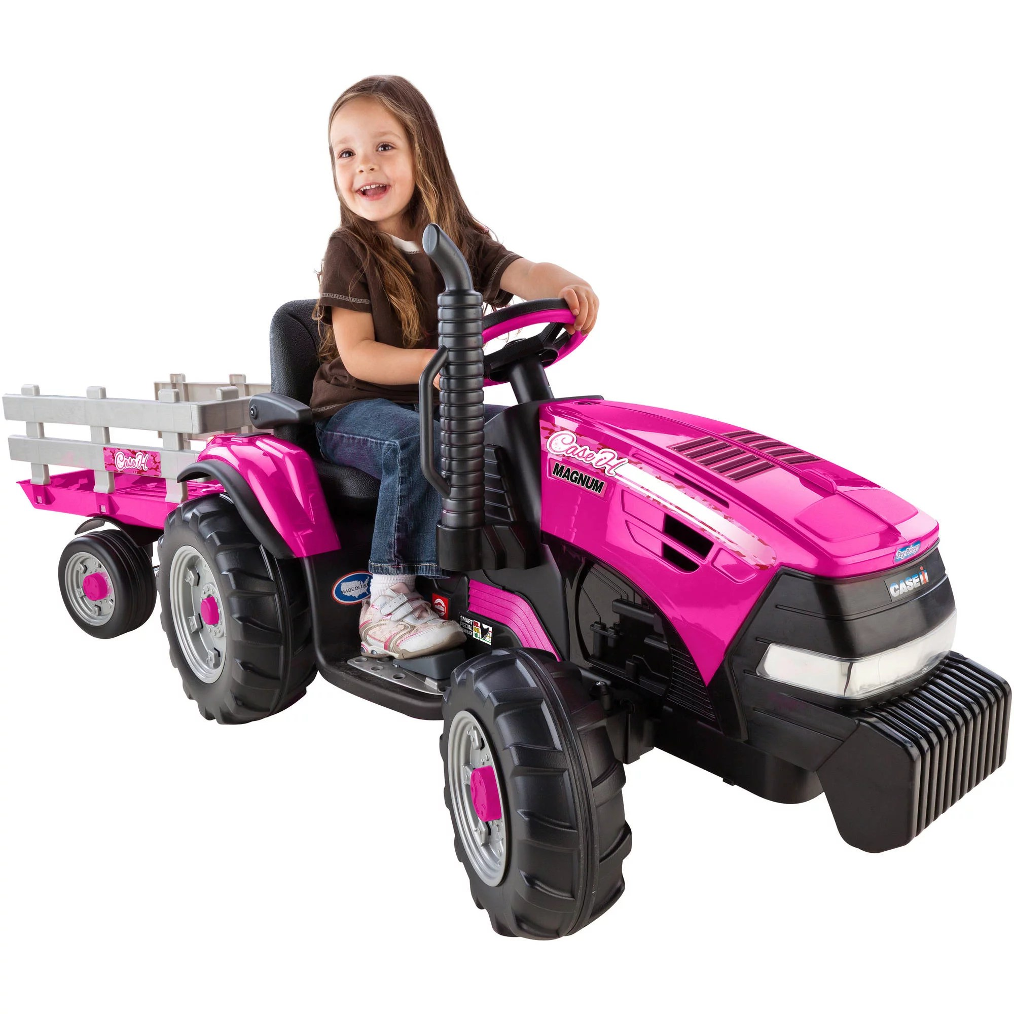 Case Ih Magnum Tractor And Trailer Girls 12 Volt Battery