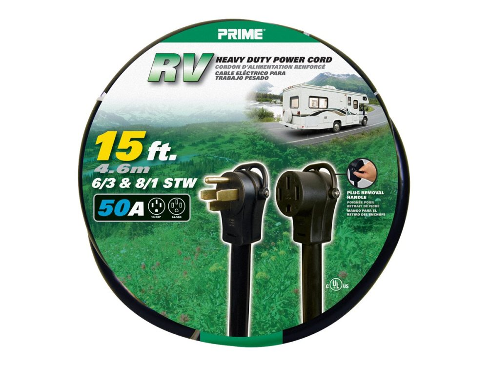 medium resolution of prime rv power cord 15 feet 50 amp plug and 50 amp connector walmart com