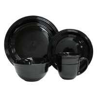 Mainstays 16pc Dinnerware Set, Rich Black - Walmart.com