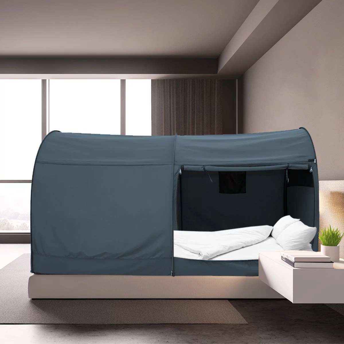 alvantor bed canopy tents privacy space queen size sleeping tents indoor pop up curtains grey cottage mattress not included from walmart