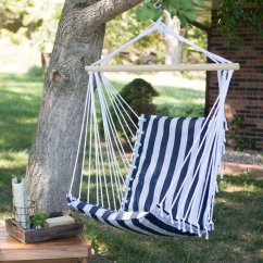 Hanging Hammock Chair Types Of Rocking Chairs The Ultimate Padded Mesh Navy Stripes Walmart Com