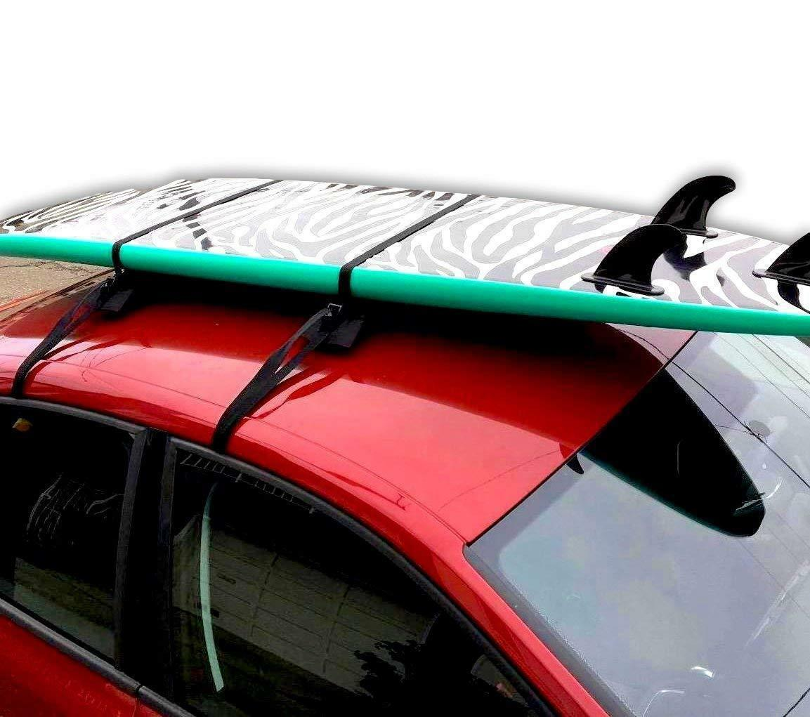 universal car soft roof rack luggage carrier surfboard paddle board anti vibration w adjustable and heavy duty straps