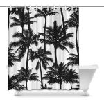 Gckg Black Vector Palm Trees Shower Curtain Black And White Polyester Fabric Shower Curtain Bathroom Sets 60x72 Inches Walmart Canada
