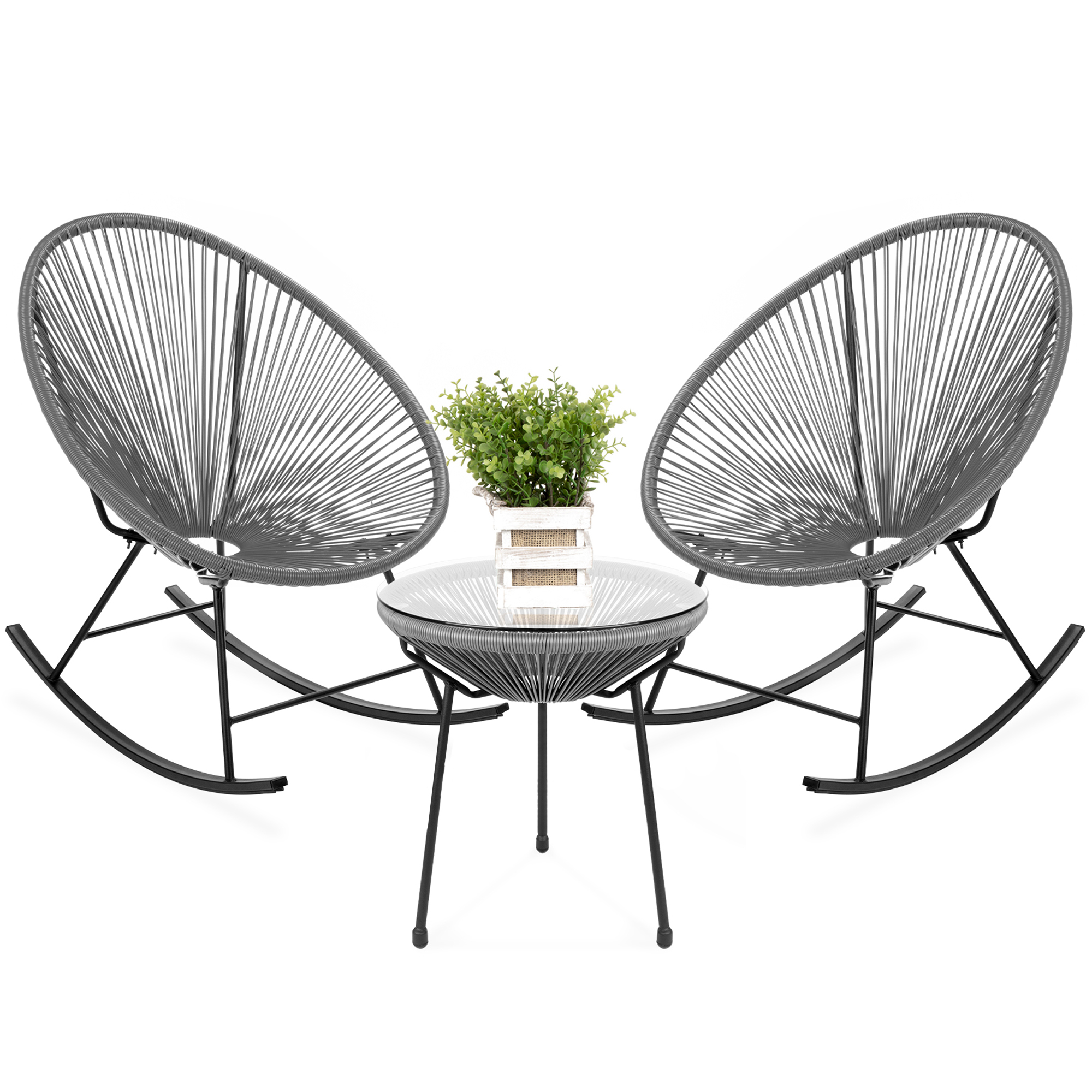 best choice products 3 piece all weather patio woven rope acapulco bistro furniture set w rocking chairs table gray walmart com