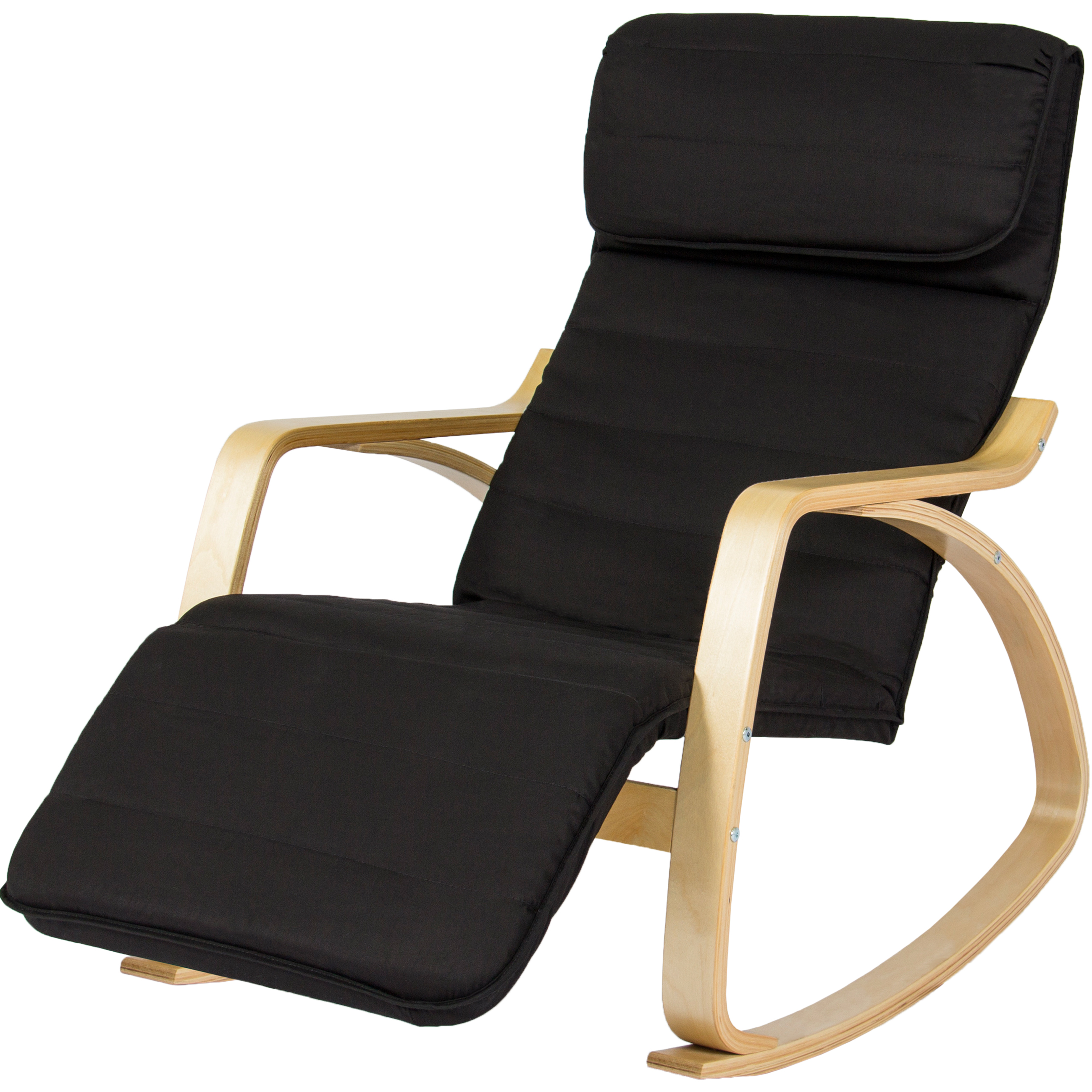 rocking chair footrest gaming stand best choice products birch bentwood cushioned w adjustable leg rest black walmart com
