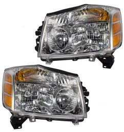 pair set headlights headlamps replacement for nissan armada titan pickup truck 260607s026 260107s026 walmart com [ 1000 x 1000 Pixel ]