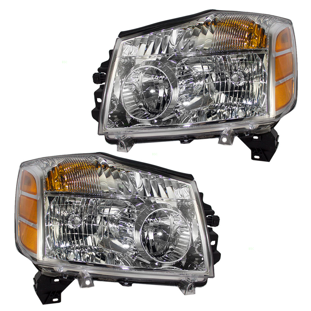hight resolution of pair set headlights headlamps replacement for nissan armada titan pickup truck 260607s026 260107s026 walmart com