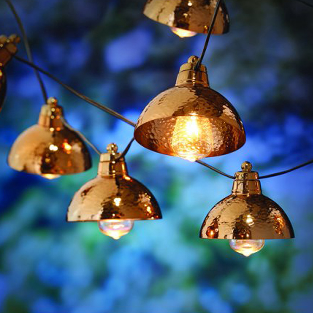 better homes gardens 110 volts 8 86 feet 10 count clear glass incandescent bulbs with hammered copper hood string lights for outdoor and indoor use