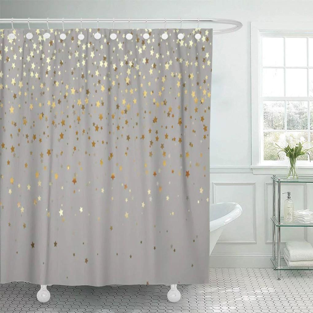 cynlon accessories golden of stars grey fixtures gold bathroom decor bath shower curtain 66x72 inch walmart com