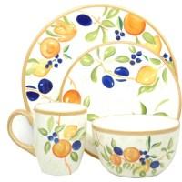 Casa Moda 16-Piece Hand Painted Dinnerware Set, Orchard ...