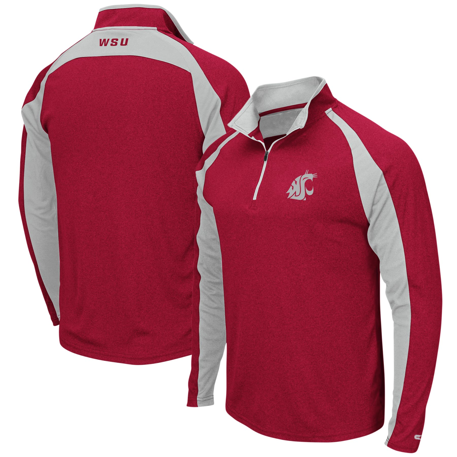 Washington State Cougars Colosseum The J. Peterman Quarter-Zip Pullover Jacket – Heathered Crimson