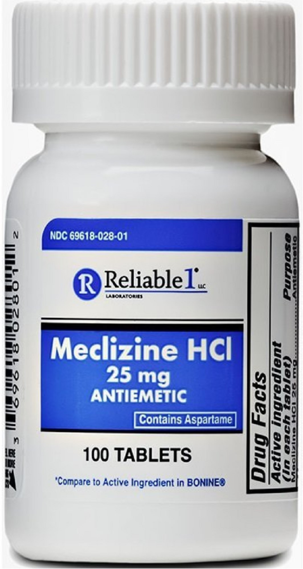 3 Pack - Reliable 1 Meclizine HCL 25mg Tablets 100 ea ...