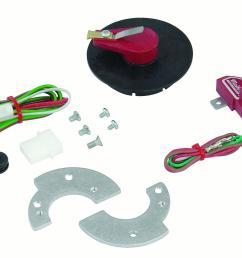 mallory 502m unilite breakerless ignition conversion kit incl unilite module rotor shutter wheel wiring harness hardware fits 1957 1974 ford v8  [ 1280 x 949 Pixel ]