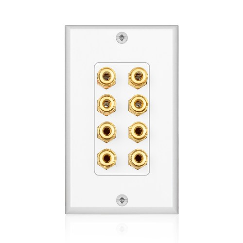 small resolution of home theater speaker wall plate outlet 4 speaker sound audio distribution panel gold plated copper banana plug binding post connector insert jack coupler
