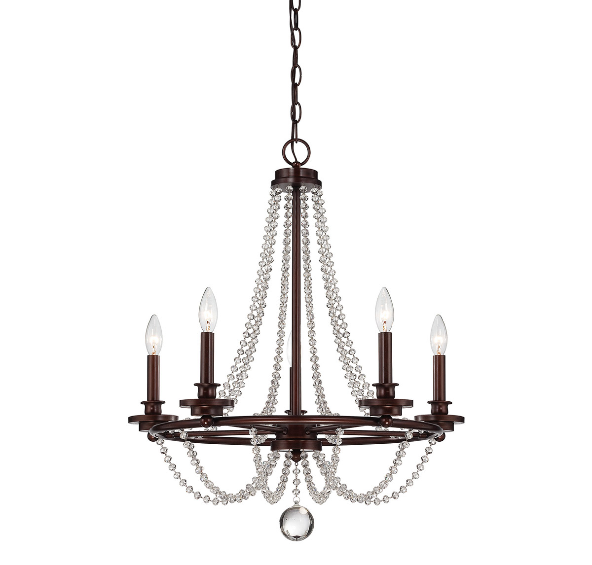 Chandeliers 5 Light With Mohican Bronze Finish Candelabra