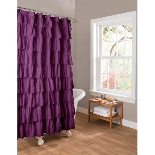 Essential Living Ruffle Purple Shower Curtain Walmart Com