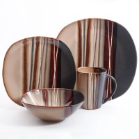 Better Homes and Gardens Bazaar Brown 16 Pc Dinnerware Set ...