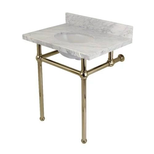 kingston brass templeton carrara marble rectangular console sinks bathroom sink with overflow
