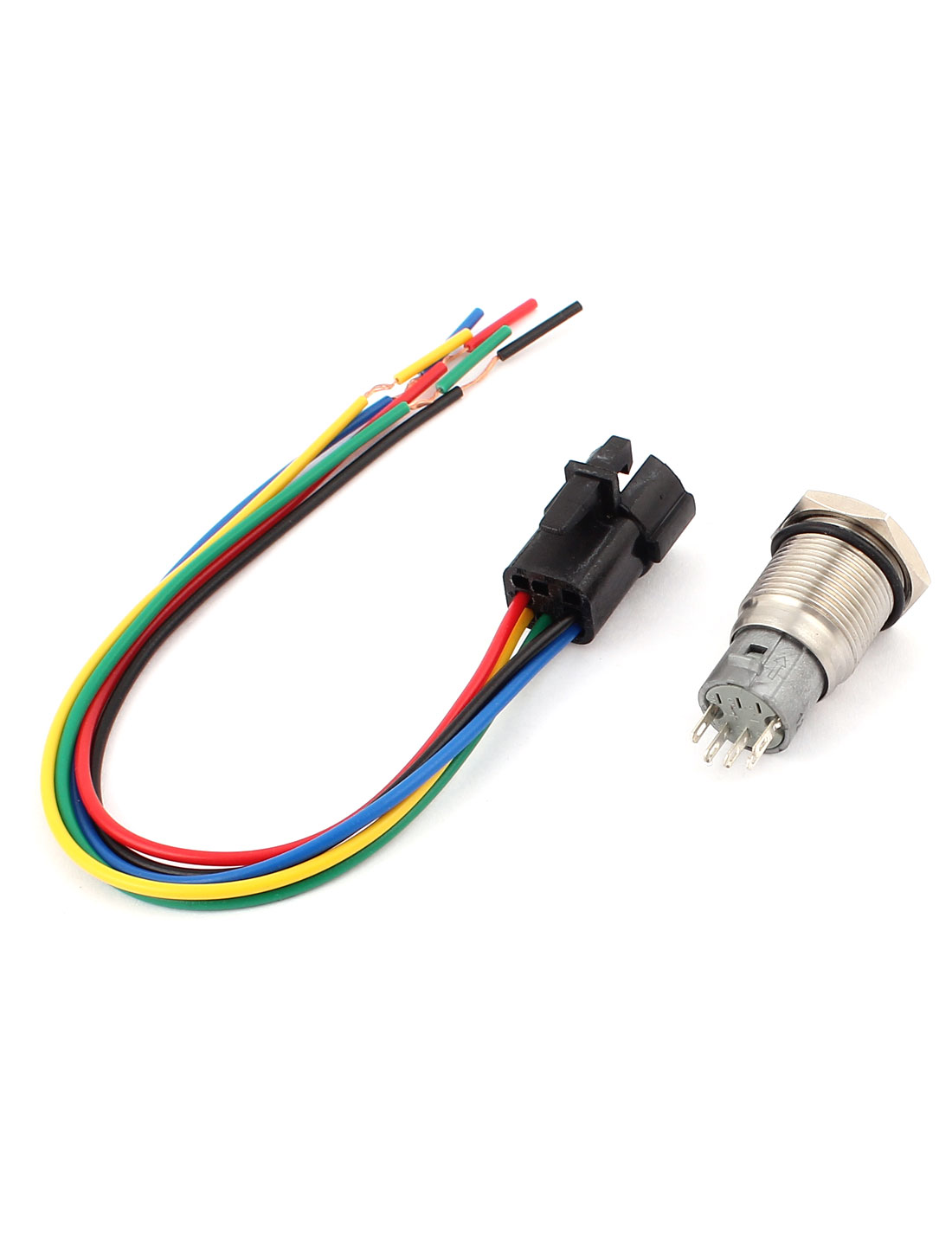 hight resolution of dc 12v green angle eye spdt latching car push button switch 16mm w wire walmart canada
