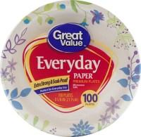 "Great Value Everyday Premium Paper Plates, 8 5/8"", 100 ..."