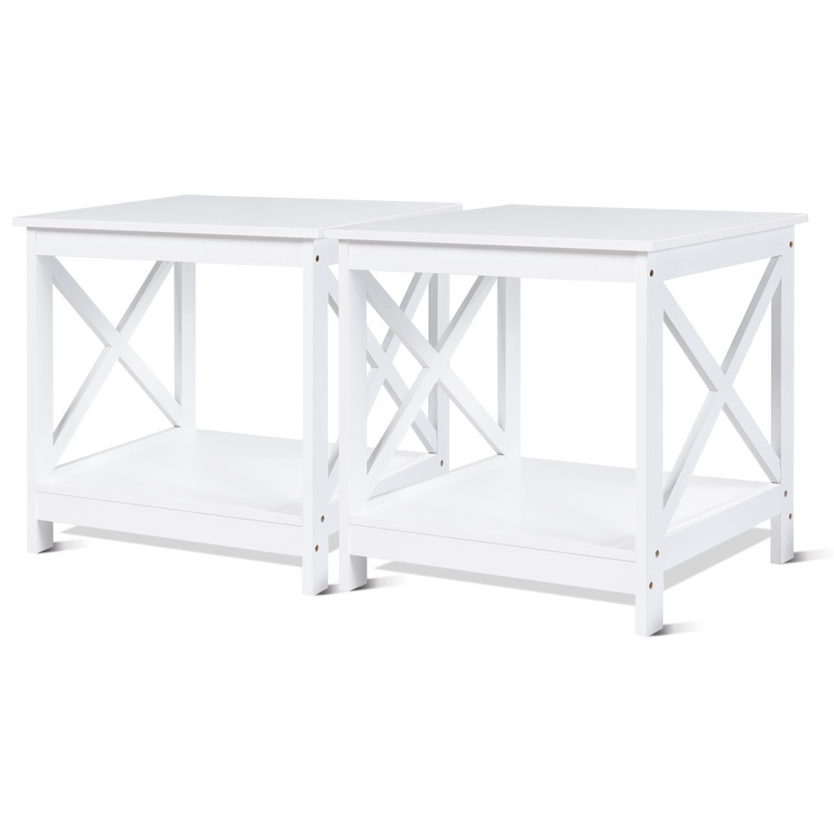 accent sofa best sunbrella fabric for costway 2 pcs end table x design display shelves side nightstand white